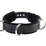 3-D Ring Leather Slave Collar Black