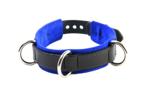 3-D Ring Leather Slave Collar Blue