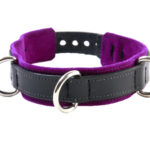 3-D Ring Leather Slave Collar Purple
