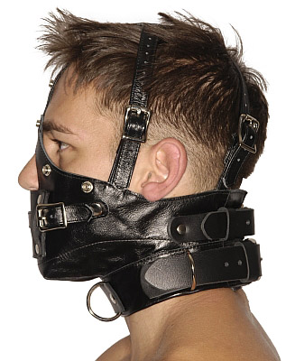 Blindfold Muzzle Gag side view