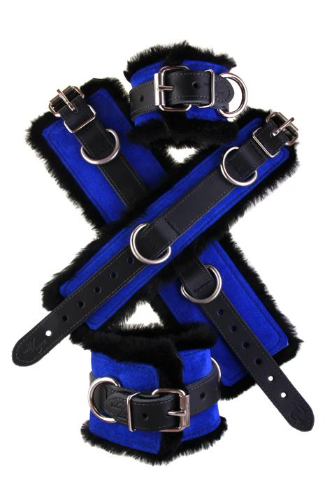 Faux Fir Bondage Cuffs Blue