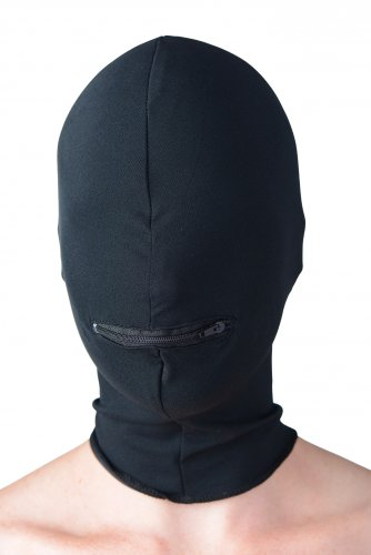 Hood With Zippered Mouth Hole Front View