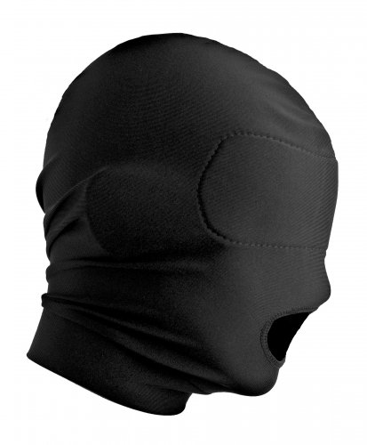 Hood with Padded Blindfold And Mouth Hole Side View