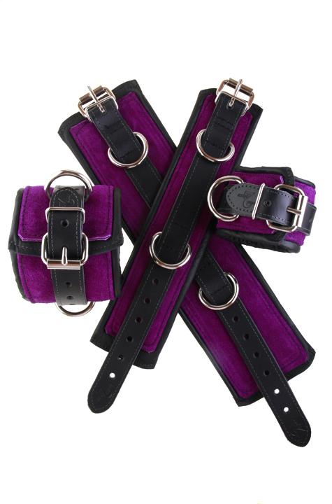 Padded Leather Bondage Cuffs Purple