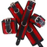 Padded Leather Bondage Cuffs Red