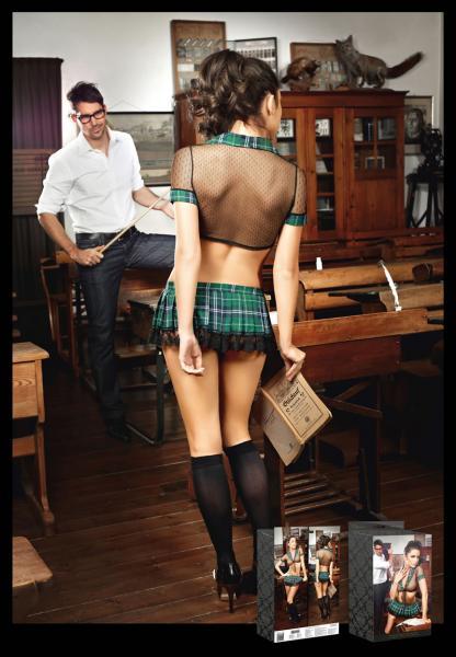 Green Plaid School Girl Uniform Back View