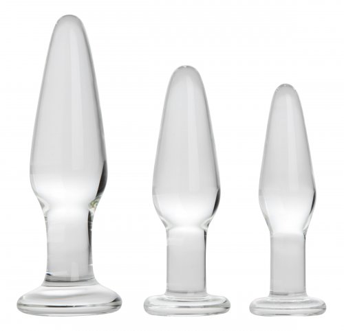 Graduated Sizes Glass Anal Plug Kit