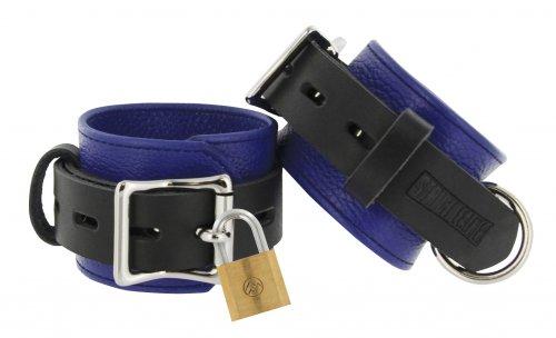 Locking Leather Wrist Cuffs Blue