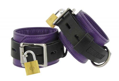 Locking Leather Wrist Cuffs Purple