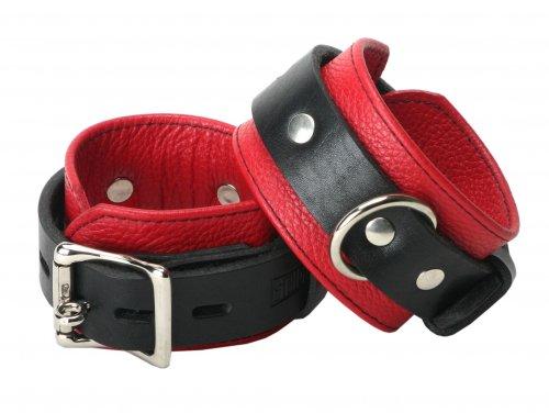 Locking Leather Wrist Cuffs Red