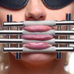 Lips and Tongue Press Close Up