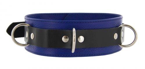 Tri Ring Locking Leather Blue Collar