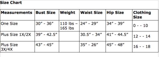 GW Size Chart