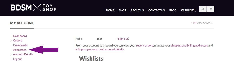 wishlist address info