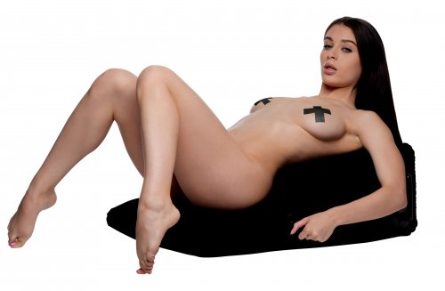 Mount Me Inflatable Position Pillow With Model On Her Back