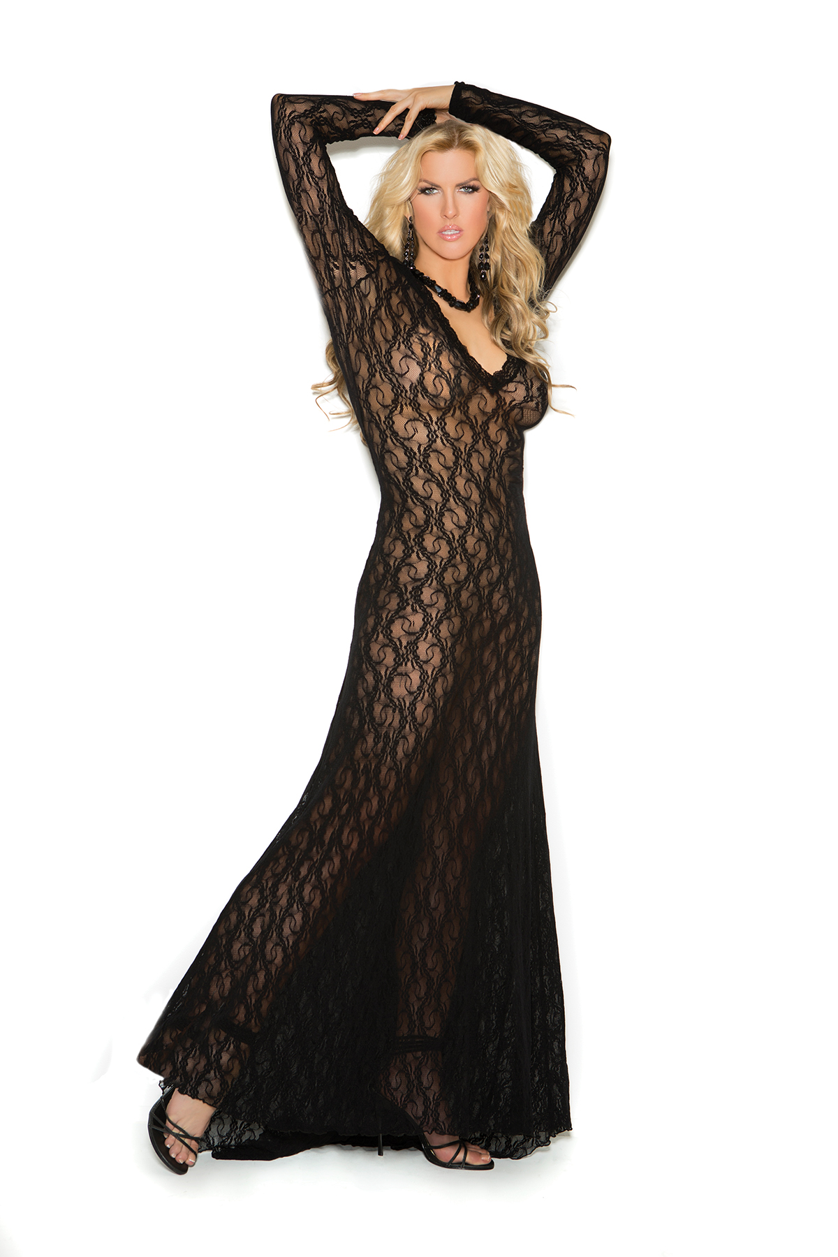 Deep V Lace Gown X Black