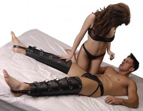 Leather Leg Binders Male Model