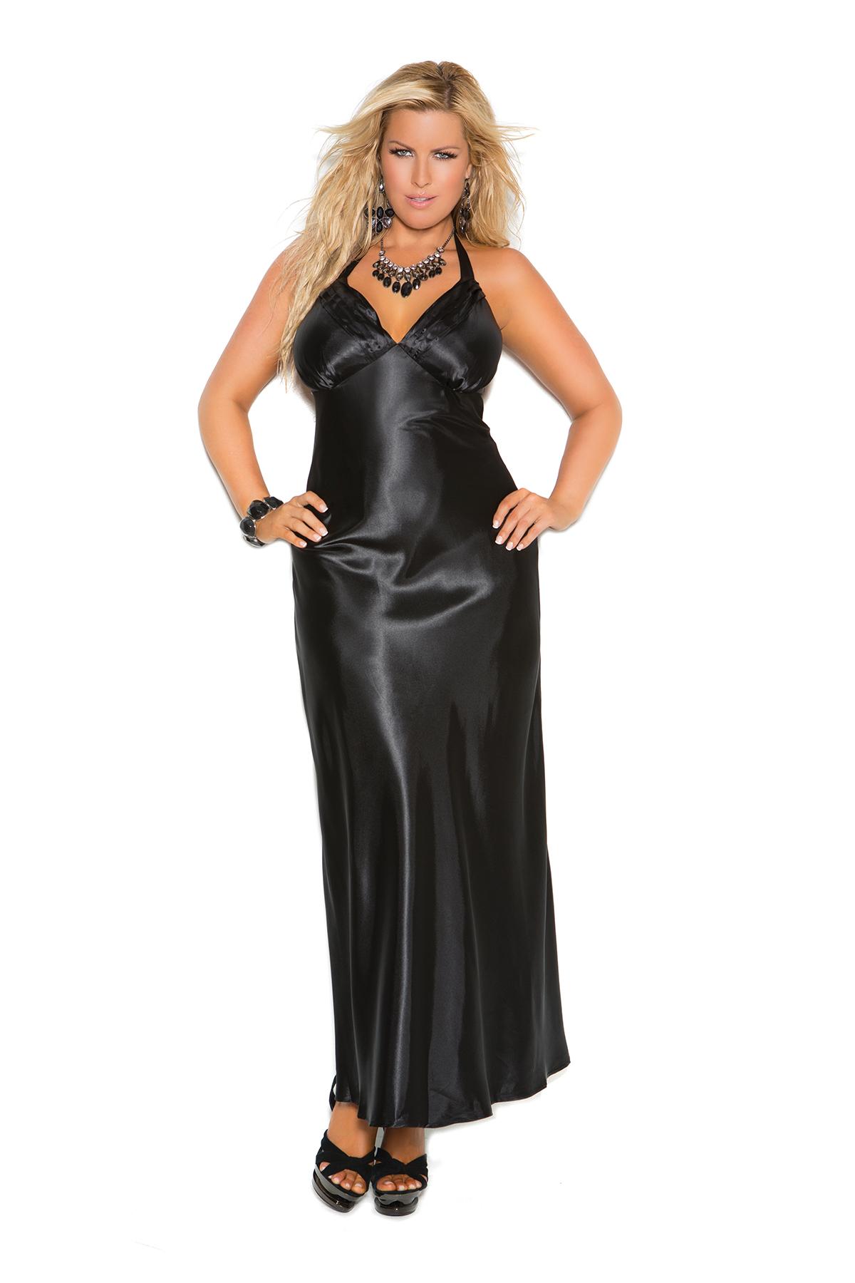 Sexy Satin Gown X Black