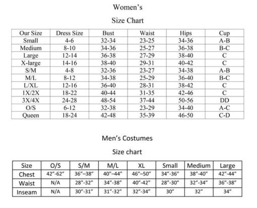 BW Size Chart