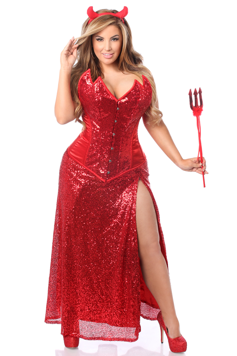 Devil Long Premium Corset Dress Costume