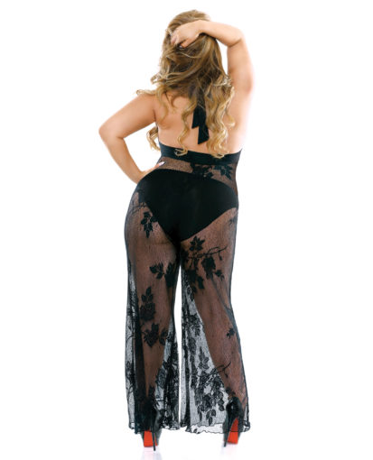 Elegant Lace Halter Jumpsuit Back