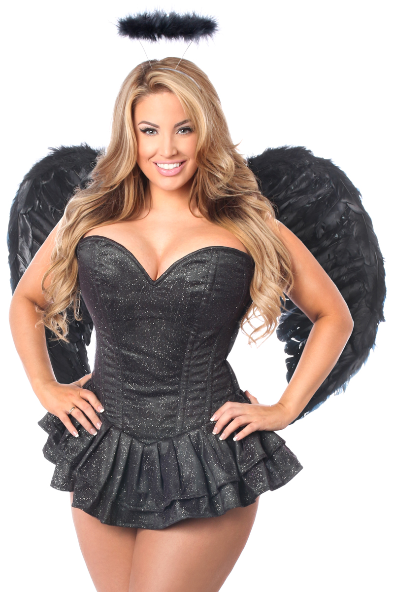 Glitter Dark Angel Premium Corset Dress Costume