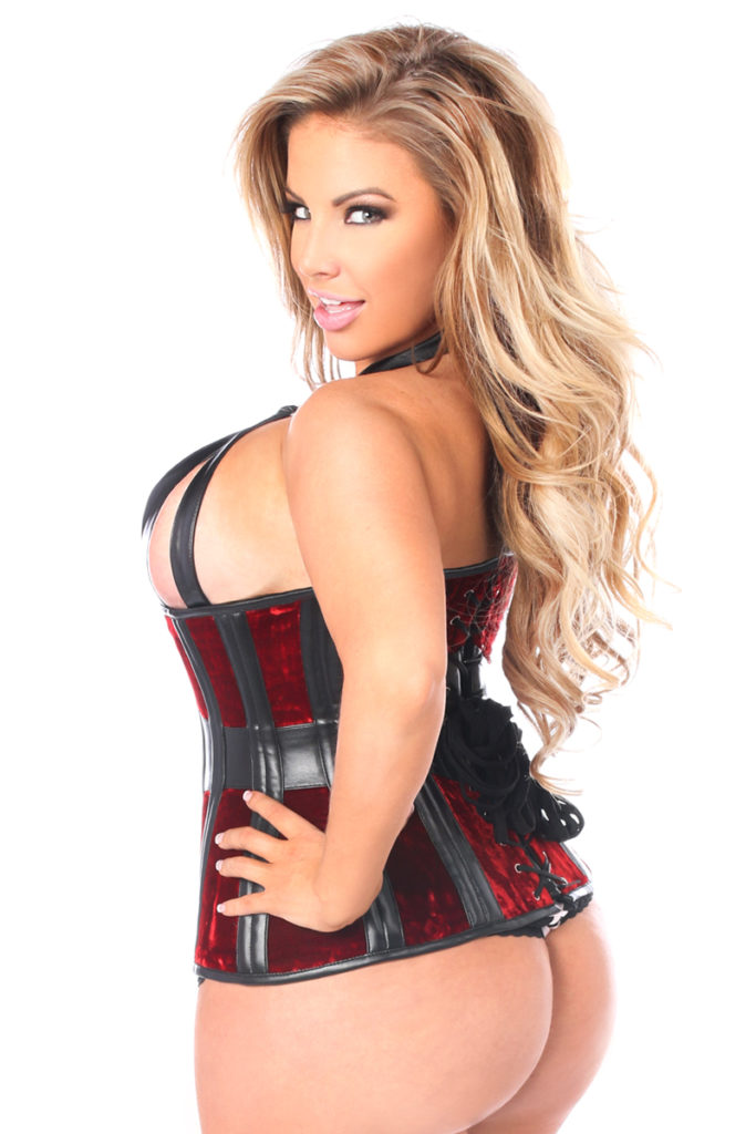 Red Velvet Steel Boned Underbust Corset Queen Close Up Back