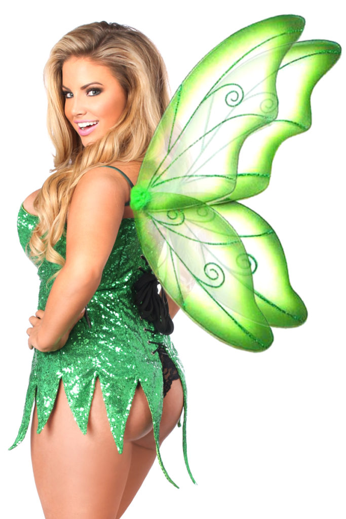 Sequin Fairy Corset Dress Costume Green Close Up Back