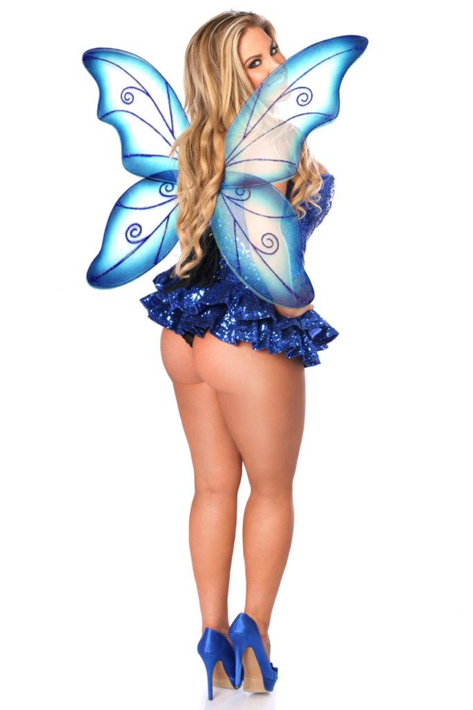 Sequin Fairy Premium Corset Costume Blue Back