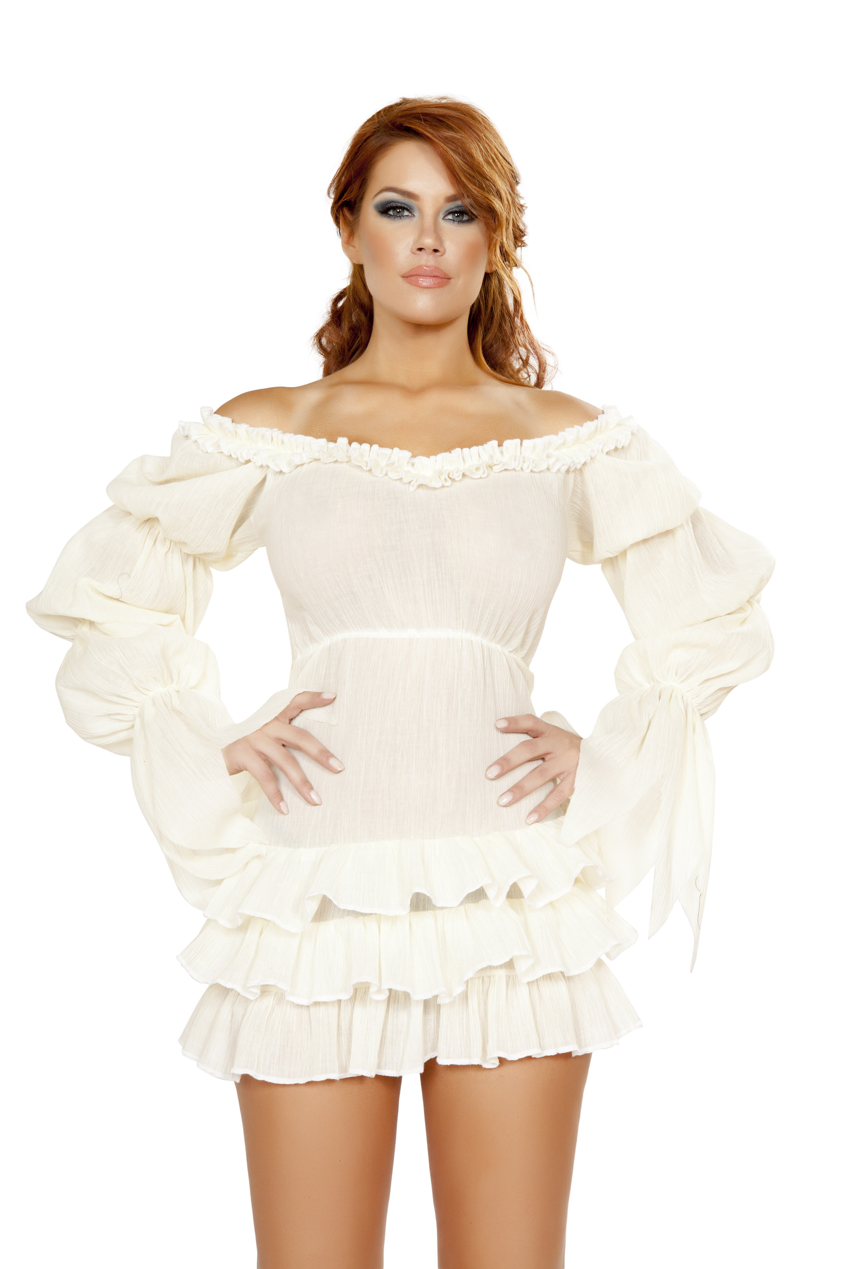 Ruffled Pirate Dress White