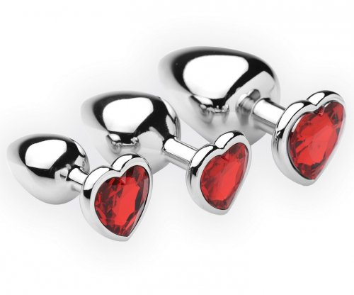 3 Piece Scarlet Heart Jeweled Anal Plug