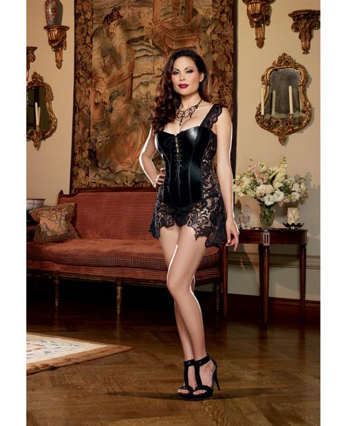 Faux Leather Venice Lace Corset Queen
