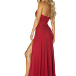 Sensual Satin Red Maxi Dress Back