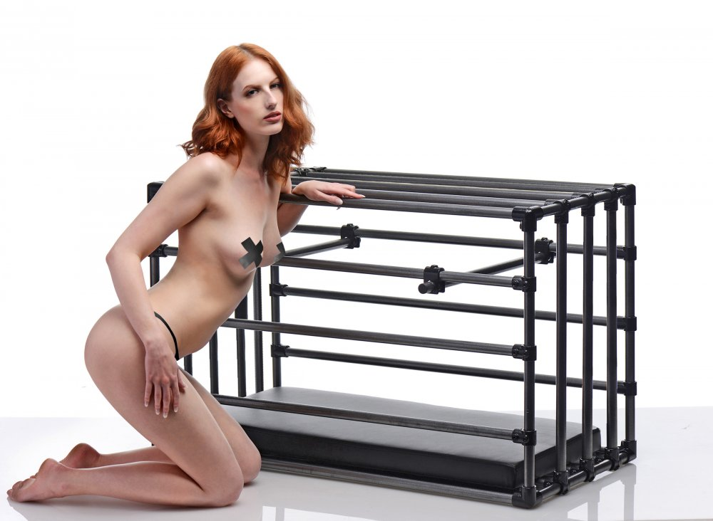 Adjustable Submissive Cage With Model